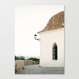 "Travel photography ""Ibiza white"" | Modern wall art Ibiza Spain coast white tones sunset Canvas Print"