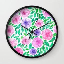 Watercolor petunia garden Wall Clock