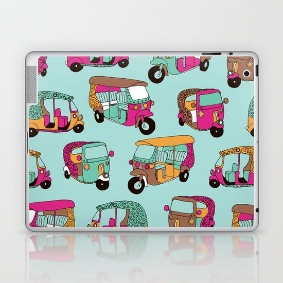 India rickshaw illustration pattern Laptop & iPad Skin