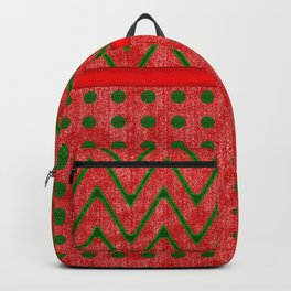 Yuletide Green and Red Polkas and Zig Zag Pattern Backpack
