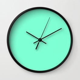 Solid Bright Aquamarine Aqua Blue Green Color Wall Clock
