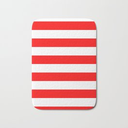 Horizontal Stripes - White and Red Bath Mat
