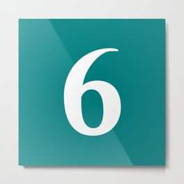 6 (WHITE & TEAL NUMBERS) Metal Print