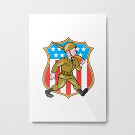 World War Two Soldier American Cartoon Shield Metal Print