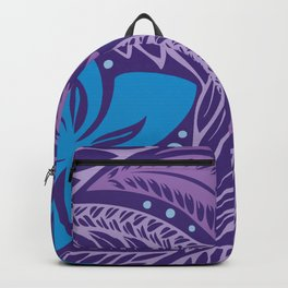 Circular Polynesian Hawaiian Blue Purple Floral Tattoo Backpack