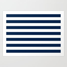 Slate Blue and White Stripes  - Navy Nautical Pattern Art Print