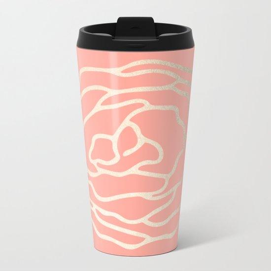 Flower in White Gold Sands on Salmon Pink Metal Travel Mug