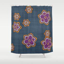 garden fantasy flowers over jeans Shower Curtain