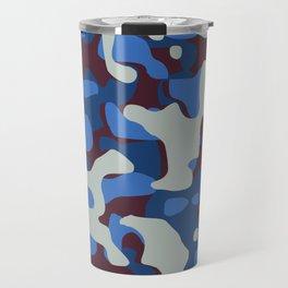 Blue & Burgandy Camo Pattern Travel Mug