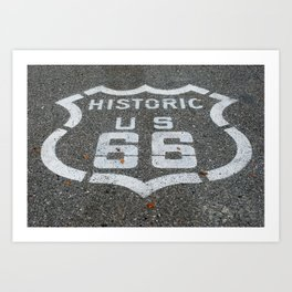 Route 66 sign on the road Art Print