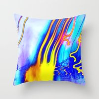 gorillaz Throw Pillows featuring Jellyfish by Serena Gailey