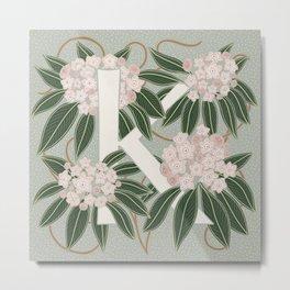 Floral Monogram Letter K Metal Print