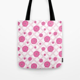 Scattered pink Gerberas on a checked tablecloth Tote Bag