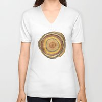 tree rings V-neck T-shirts featuring Tree Rings by Rachael Shankman