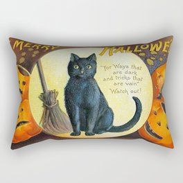Merry Halloween Black Cat Rectangular Pillow