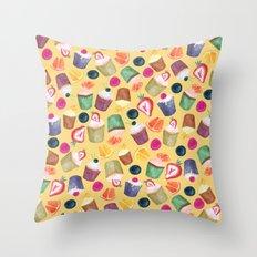 Exotic Cupcake Pattern Throw Pillow