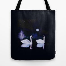 Swan lake at midnight Tote Bag