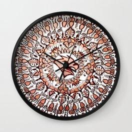 Metallic Brown and White Mountain Hawk College Mandala Wall Clock