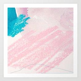 Elegant pink blue watercolor crayon abstract brushstrokes Art Print