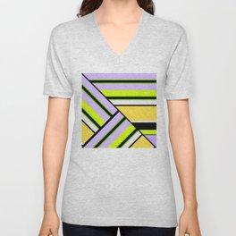 Striped , multi-colored , asymmetric combination pattern . Patchwork . Unisex V-Neck