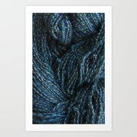 Navy Night Sky Sparkle Hand Spun Yarn Art Print