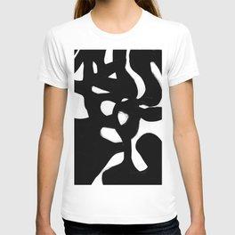 Maze Black & White Minimalist Abstract Mid century Ink Art Dark Brush Strokes T-shirt