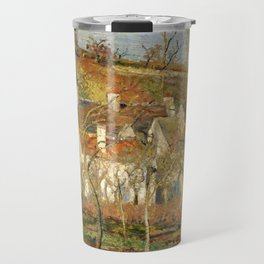 """Camille Pissarro """"The Red Roofs, a Corner of a Village, Winter Effect"""" Travel Mug"""
