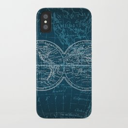 Antique Navigation World Map in Turquoise and White iPhone Case