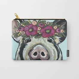 Cute Pig Art, Flower Crown Pig Art Carry-All Pouch