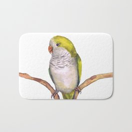 Quaker parrot in watercolor Bath Mat