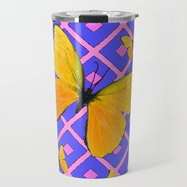 Decorative  Yellow Butterflies on Lilac & Pink Travel Mug