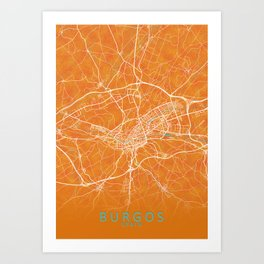 Burgos, Spain, Gold, Blue, City, Map Art Print