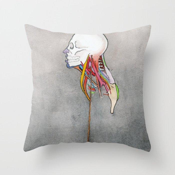 Doctor X, Skull anatomy drawing, NYC Artist Throw Pillow