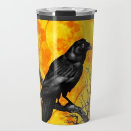 Grey & Gold Pattern  Crow Wildlife Art Travel Mug