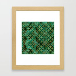 Gold Chinese Double Happiness Symbol pattern on malachite Framed Art Print
