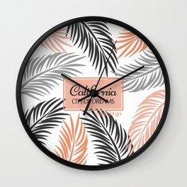 """""""Californita, City of Dreams"""" Coral and Palm Frond Wall Clock"""