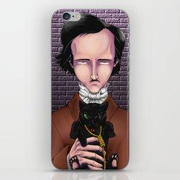 Poe's Black cat Portrait iPhone Skin