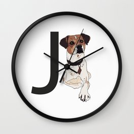 J is for Jack Russell Terrier Dog Wall Clock