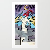 baphomet Art Prints featuring Baphomet by Sara E. Adrian