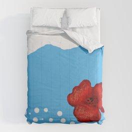 Coquelicot et ciel bis Comforters