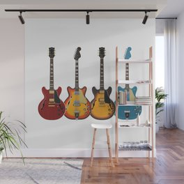 Four Electric Guitars Wall Mural