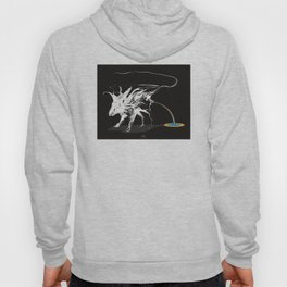 Rat and rainbow. White on dark on background - (Red eyes series) Hoody