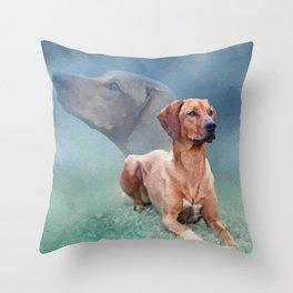 Rhodesian Ridgeback Dog Collage Throw Pillow