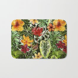 Tropical Vintage Exotic Jungle Flower Flowers - Floral watercolor pattern Bath Mat