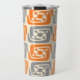 Mid Century Modern Galaxy Pattern 131 Orange and Gray Travel Mug