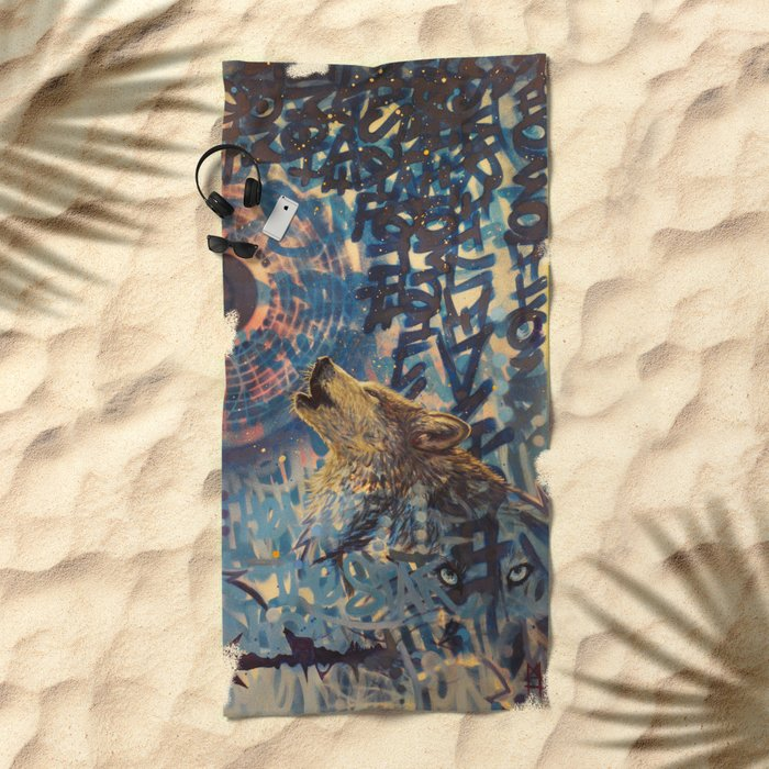 THE WOLF HOWLED AT THE STAR FILLED NIGHT Beach Towel