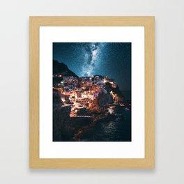 manarola at night Framed Art Print
