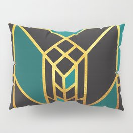 Art Deco Leaving A Puzzle In Turquoise Pillow Sham