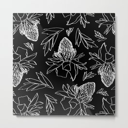 Tropical Ginger Plants in Black + White Metal Print