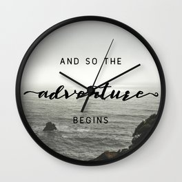 And So The Adventure Begins - Ocean Emotion Black and White Wall Clock